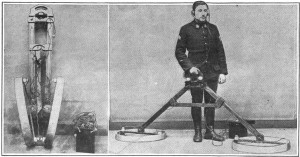 Early metal detector, 1919, used to find unexploded bombs in France after World War 1. (Source & image from Wikipedia.com)